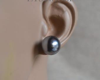 e3765cff2 14 mm Gray Pearl Earrings,Round Pearl Earrings,Large Pearl Earrings Stud, Faux  Pearl Stud Earring, Light weight Earrings,big pearl earrings