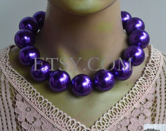 Beautiful Purple Agate Round Pendant Necklace: Large Chunky Crazy Lace Bead Charm Women/'s Fashion Jewelry 46mm x 7mm Statement Gifts Idea