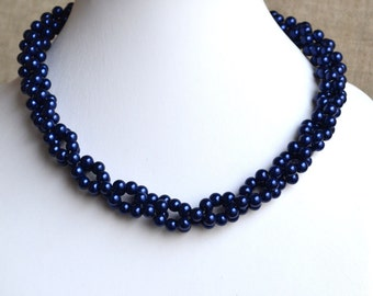 wedding  pearl necklace,pearl necklaces,,bridesmaids necklace,navy glass pearls necklaces, pearl necklace,necklace,wedding,