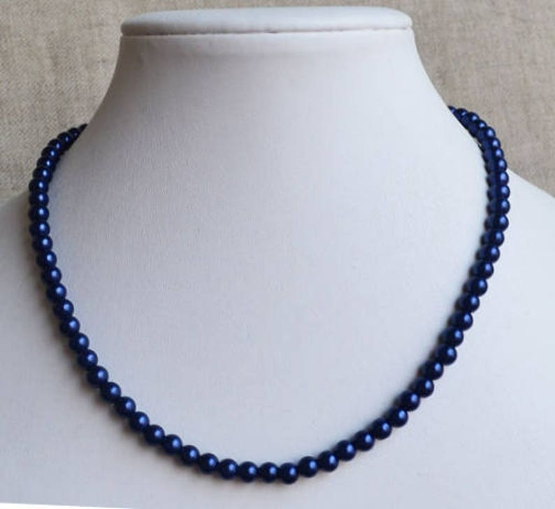 33add6670 Navy blue pearl necklace 6 mm glass pearl necklace wedding   Etsy