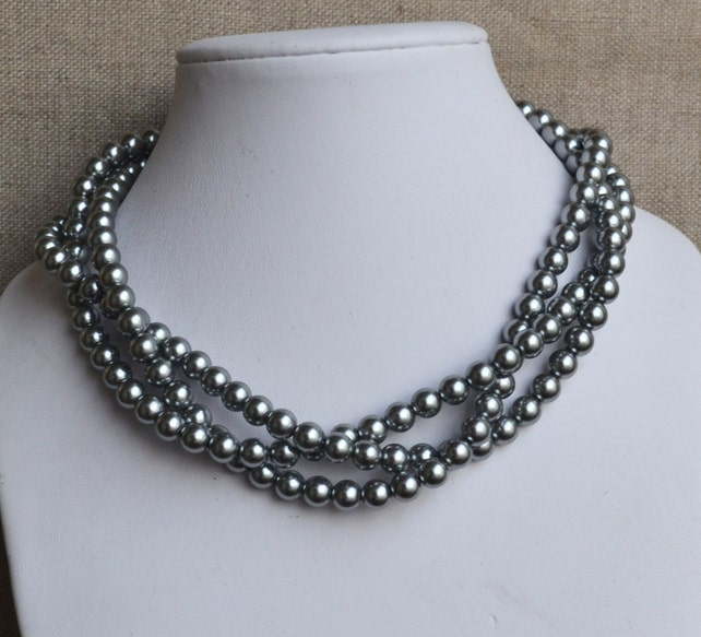 Necklaces For Bridesmaids   Gray Pearl Necklace 3 Strands Pearl Necklaces 8mm Gray Glass Pearls