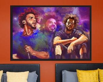 J. Cole - Original Hip Hop Wall Art Glossy Photo Print Home Decor | MassiahArts.com