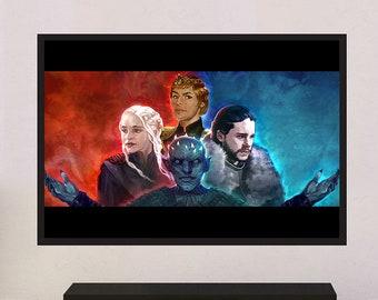 Game of Thrones Original Large Poster Artwork Print Home Decoration - Jon Snow, Daenerys, Cersei, Night King  | MassiahArts.com
