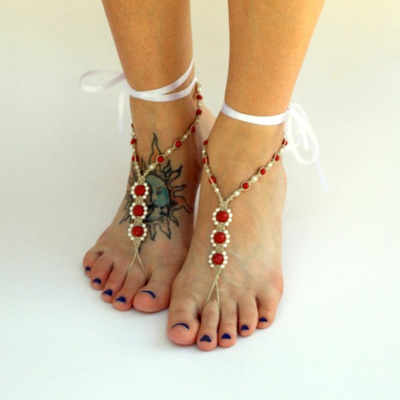 a8e511b331e7 Pearl barefoot sandals boho with ribbon ties destination