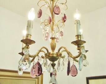 French chandelier etsy french glass chandelier vintage chandelier french country chateau romantic light boudoir chandelier shabby chic light purple glass aloadofball Images