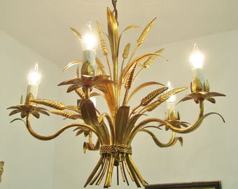 Tole chandelier etsy wheat chandelier corn light shabby chic gold tole chandelier vintage chandelier mozeypictures Image collections