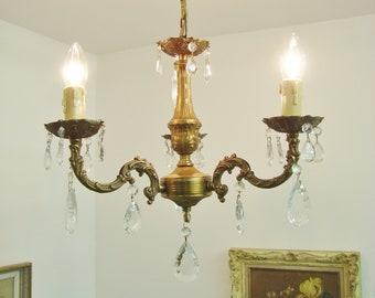 French chandelier etsy french glass chandelier vintage chandelier french chateau chandelier romantic light boudoir chandelier shabby chic light brass aloadofball Images