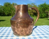 Antique French copper water jug pitcher for display or restoration