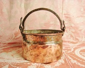 Antique French copper cooking pot with a brass handle circa 1800 farmhouse kitchen decor