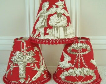 Toile lampshade etsy a superb french red toile de jouy lampshade 11 x 13 cm 43 x 51 ins for wall light chandelier french country choice of trim available aloadofball Choice Image