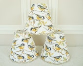 Chandelier lampshade bird fabric for sconce wall light, Clip on handmade in France country home decor 4.3 x 5.1 inches
