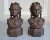 Pair antique figural andirons in cast iron French fire dogs in the form of goddesses