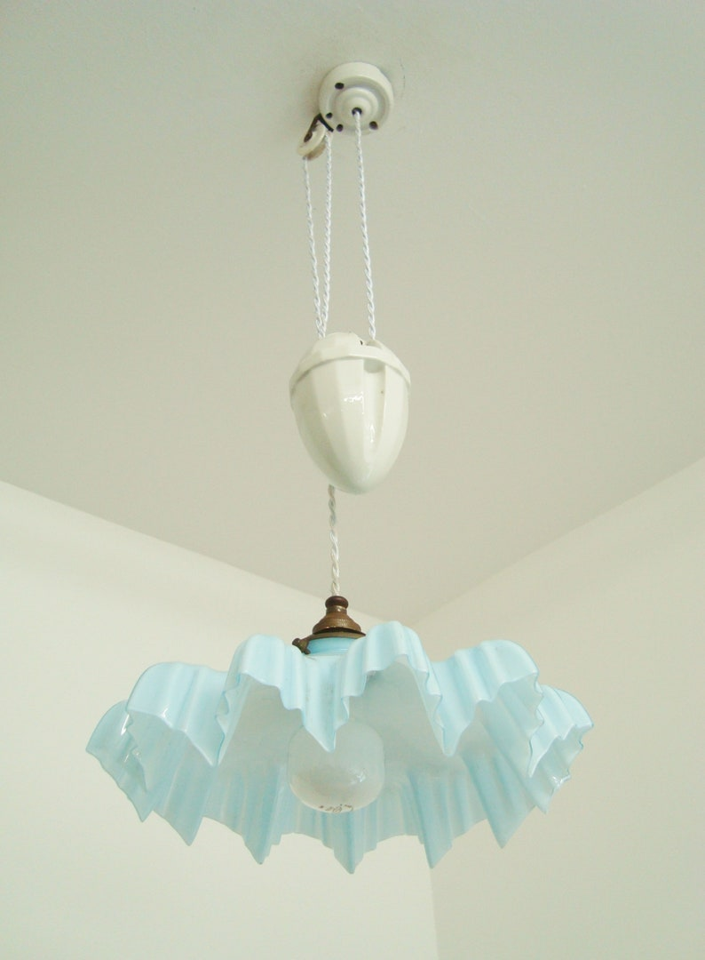 Vintage French rise and fall chandelier with a blue and white mottled glass shade