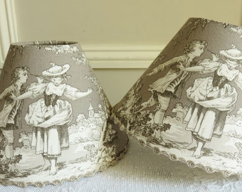 A French country TOILE DE JOUY Lampshade, Toile lampshade, French fabric, 14 x 20 cm / 5.5 x 7.8 ins for small lamp base taupe/gray
