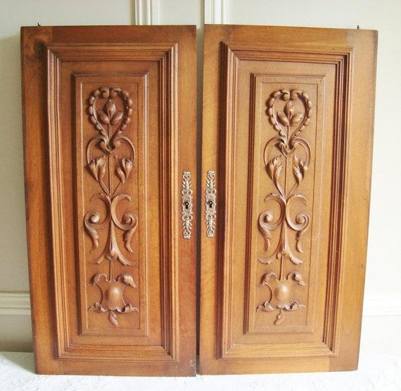 image 0 - Pair Antique Doors Carved Wood Doors Antique Cupboard Doors Etsy