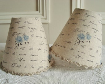 A French script lampshade, Chandelier lampshade, handmade lampshade, shabby chic, French country, Country cottage, Roses, Linen fabric