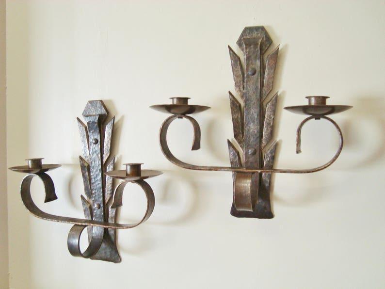 Applique in ferro battuto avorio paralumi in tessuto coll lampade