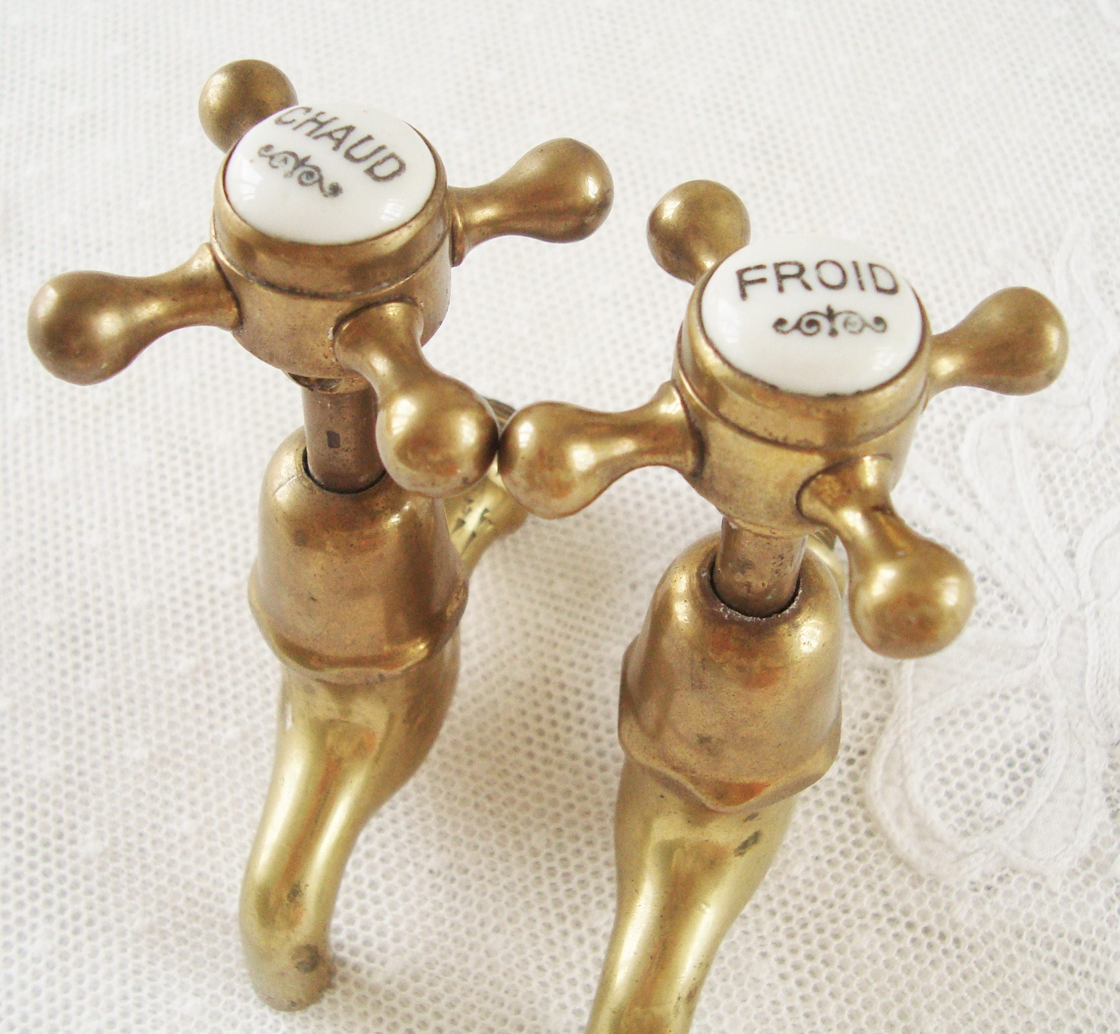 A pair of vintage French brass Faucets, French bathroom taps, French ...