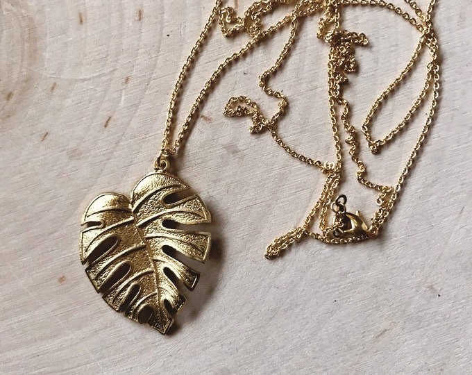 SALE Gold Monstera Necklace // Solid Leaf Boho Necklace // Geometric Necklace // Minimal Necklace // Geo Supply Co.