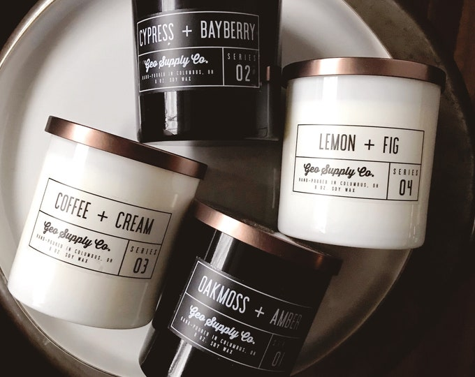 8 oz. Glass Soy Candle // Geo Supply Co. Soy Candle // Lux Glass Soy Candle // Travel Tin Candle // Geo Supply Co.