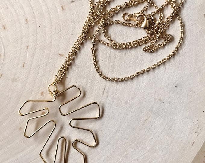 SALE Gold Monstera Necklace // Outline Leaf Boho Necklace // Geometric Necklace // Minimal Necklace // Geo Supply Co.
