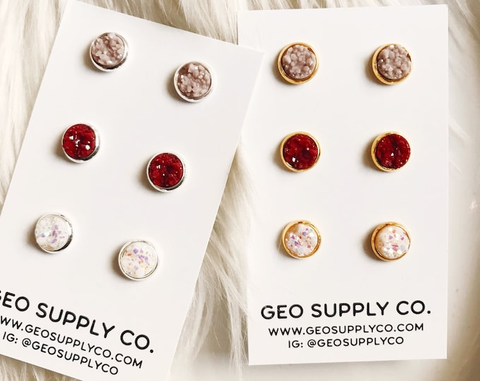 Trio Faux Druzy Earrings // 3 Pairs for the Price of 2 Pairs // Setting Druzy Earrings // Druzy Stud Earrings // Geo Supply Co.