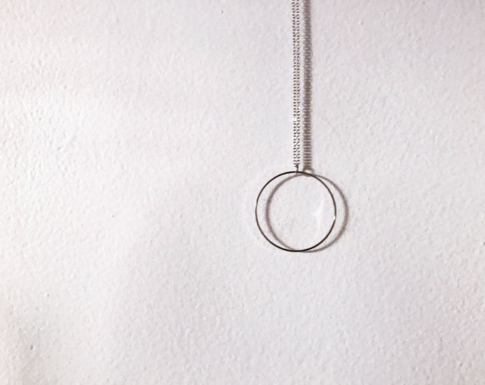 Ready-to-Ship Item // Large Silver Circle Outline Necklace