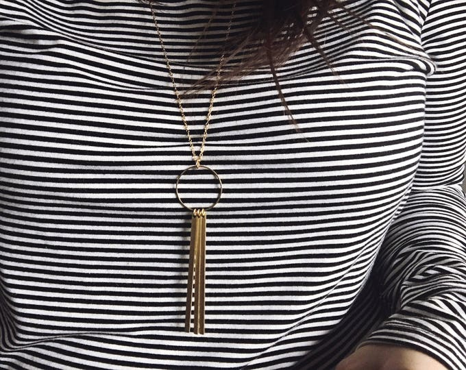Ready-to-Ship Item // Brass Circle with Bars Necklace