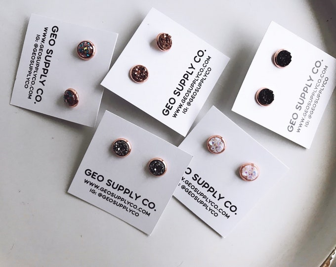 Rose Gold Setting Faux Druzy Earrings // Setting Druzy Earrings // Druzy Stud Earrings // Geo Supply Co.