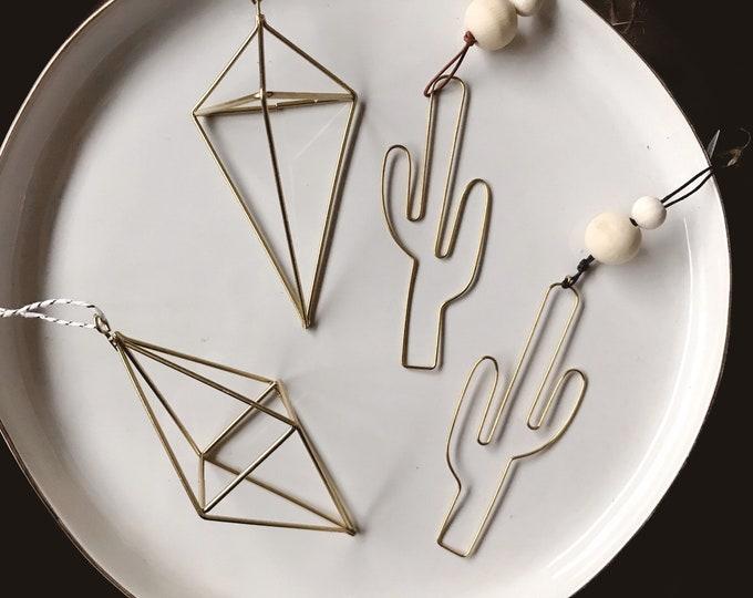 SALE // Brass Gold Ornament // Cactus Ornament // Geometric Ornament // Geo Supply Co.