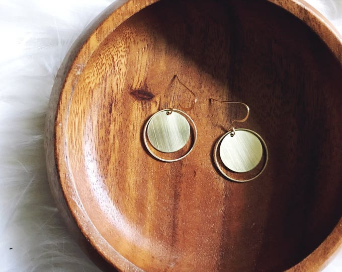 Harvest Gold Earrings || Circle Brass Earrings || Moon Earrings || Boho Earrings || Gold Dangle Earrings || Geo Supply Co.
