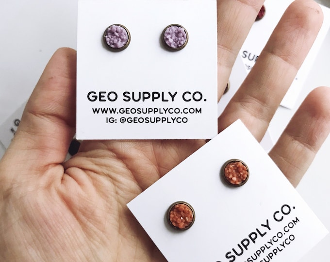 Bronze Setting Faux Druzy Earrings // Setting Druzy Earrings // Druzy Stud Earrings // Geo Supply Co.