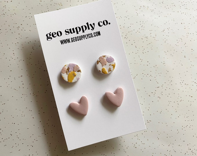 SHIPS IN 3-4 DAYS // Clay Earrings // Lightweight Polymer Clay Earrings // Stud Earrings // Drop Earrings // Gift Earrings // Geo Supply Co.