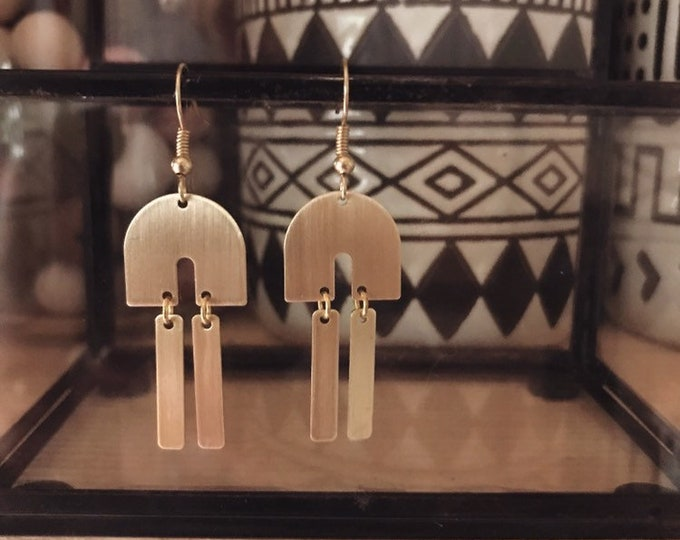 Arch Earrings || Boho Arc Earrings || Brass Statement Earrings || Gypsy Large  Earrings || Geo Supply Co.