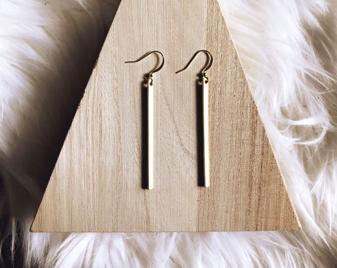 Mayfair Gold Bar Earrings || Simple Gold Bar Earrings || Bar Earrings || Long Dangle Earrings || Simple Earrings || Geo Supply Co.
