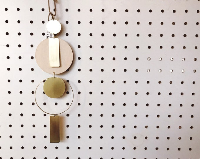SALE || 4 Circles and 2 Gold Bars || Brass and Wood Wall Hanging || Boho Wall Hanging || Moon Wall Hanging || Geo Supply Co.