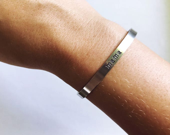 Skinny Silver Customizable Cuff || Aluminum Personalized Cuff || Bridesmaid Gift || Mother's Gift || Mantra Cuff || Geo Supply Co.