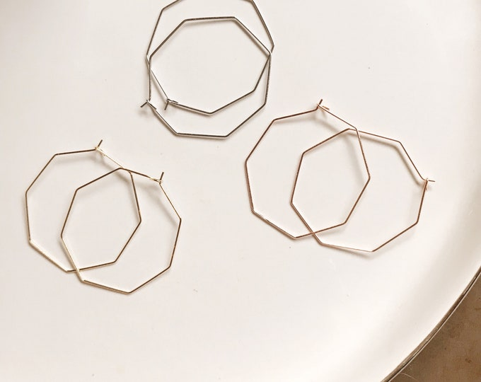 Delicate Geometric Hoop Earrings || Boho Hoop Earrings || Octagon Hoop Earrings || Thin Large Hoop Earrings || Geo Supply Co.