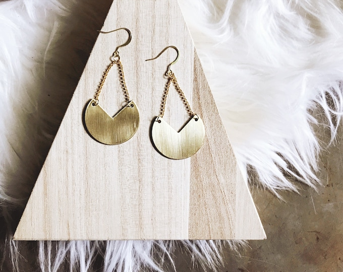Eve Brass Earrings || Gold Moon Earrings || Boho Dangle Earrings || Wedge Earrings || Unique Brass Earrings || Geo Supply Co.