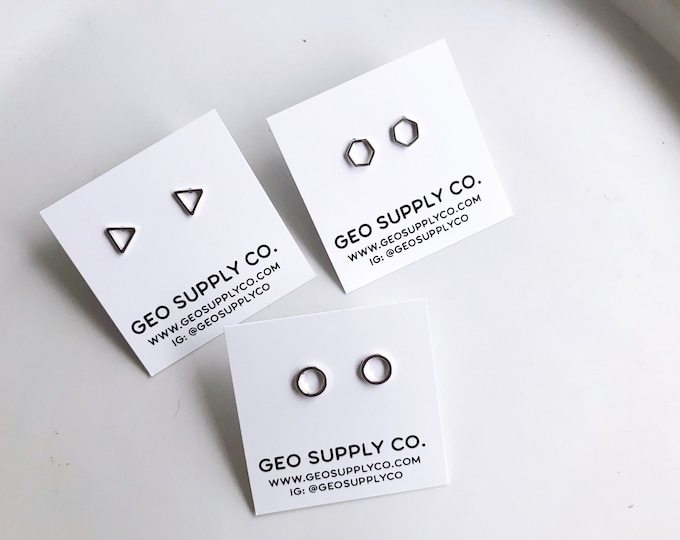Silver Geometric Stud Earrings //Tiny Geometric Earrings // Geometric Earrings // Geo Supply Co.