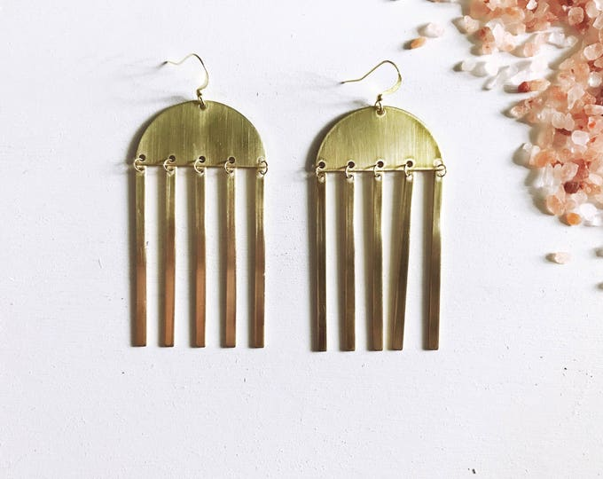 Sun Chimes Brass Earrings || Moon Earrings || Boho Dangle Earrings || Half Circle Earrings || Unique Brass Earrings || Geo Supply Co.