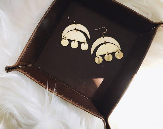 Gypsy Gold Earrings || Moon Circle Earrings || Dangle Brass Earrings || Statement Gold Earrings || Geo Supply Co.