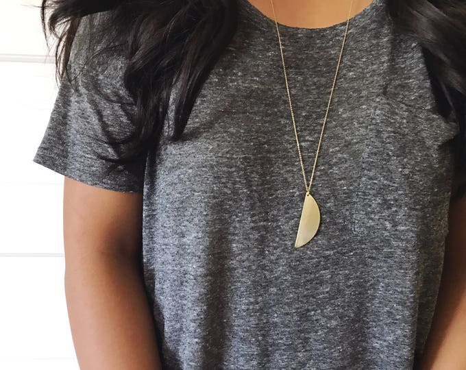 Half Moon Necklace || Long and Layering Necklace || Brass Necklace || Semi-Circle Necklace || Half Circle Necklace || Geo Supply Co.