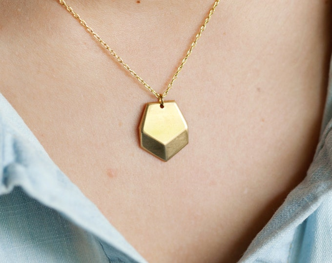 Raw Brass Geometric Faceted Heptagon Charm Necklace // Raw Cut Brass Necklace // Gold Necklace