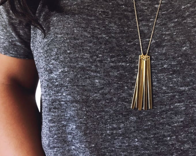 Golden Bars Necklace    Long Skinny Bars Necklace    Layering Necklace    Simple Gold Bar Necklace    Geo Supply Co.