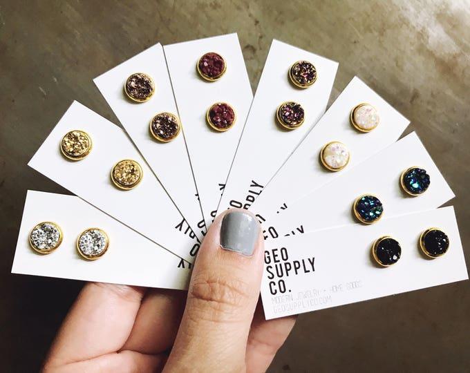 Faux Druzy Earrings // Yellow Gold Setting Druzy Earrings // Druzy Stud Earrings // Geo Supply Co.