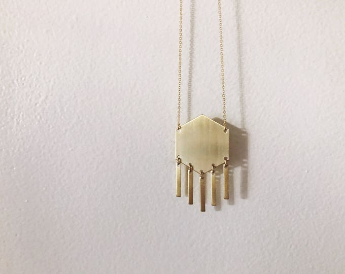 Brass Hexagon with Bars Necklace // Geo Supply Co.