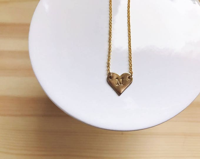 Tiny Heart Charm Necklace // Raw Cut Brass Necklace // Gold Necklace // Personalized Stamped Necklace // Geo Supply Co.