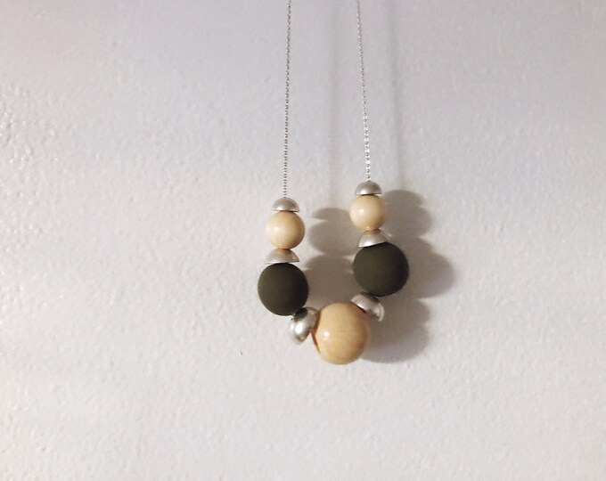 Ready-to-Ship Item // Clay, Wood, and Silver Half Domes Necklace