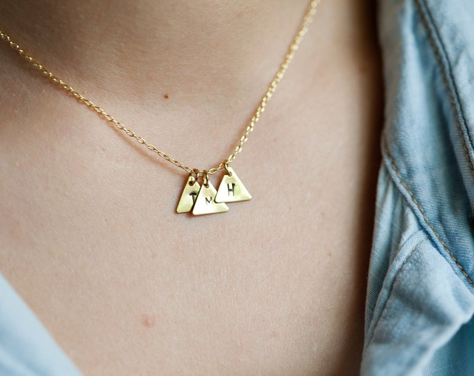 Multi-Charm Small Brass Triangle Necklace // Raw Cut Brass Necklace // Gold Necklace //  Personalized Stamped Necklace